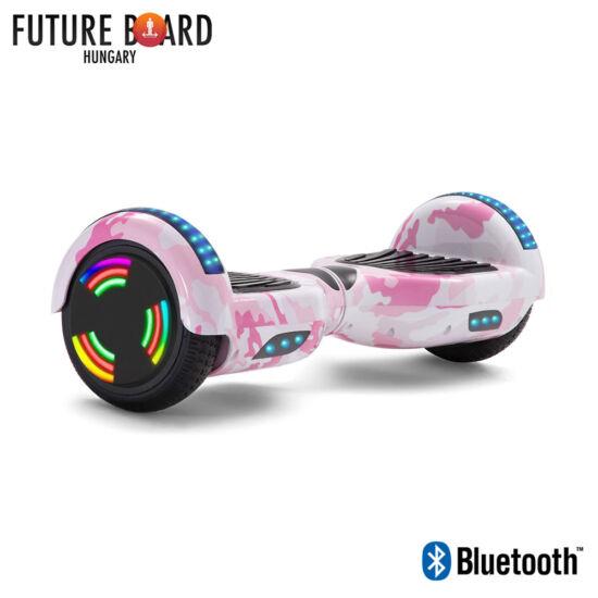 Future Board Pink Camouflage X6 - Bluetooth - Világítós kerekek - Táska